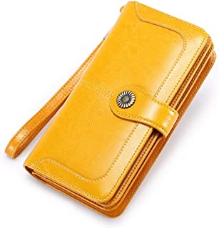 FALAN MULE Elegant Leather Wallet for Women RFID Blocking Women Purses 24 Card Slots Large Capacity Long Trifold Clutch Purse with Wrist Strap (Yellow)