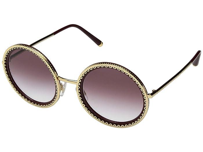 Dolce & Gabbana 0DG2211 (Gold/Bordeaux/Violet Gradient) Fashion Sunglasses