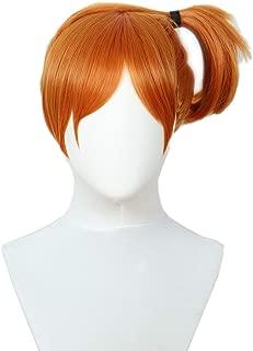 Codeven Short Wigs Halloween Costume Cosplay Party Orange Misty Wig for Women