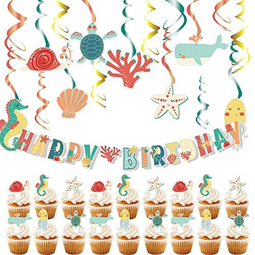 55 piezas Oceano Animal marino Set de decoración de cumpleaños - Banner marino tropical y Remolinos Caballitos de mar Corales Estrella de mar Conchas Torta de cumpleaño Baby Shower Decoración