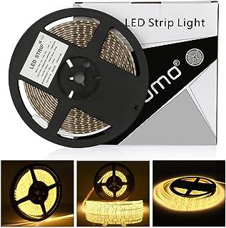 Tira led 12V 5m LEDMO,luces led 3000K SMD2835 tira led blanco cálido 600leds tiras led exterior IP65 impermeable strip led 15LM/LED cinta led ancho 8mm