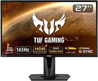 ASUS TUF Gaming ゲーミングモニター VG27AQ 27インチ WQHD HDR IPS 165Hz 1ms HDMI×2 ポートDP G-SYNC Compatible ELMB