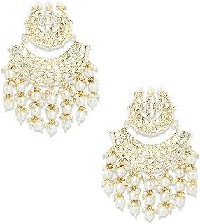 Zaveri Pearls Gold Tone Traditional Kundan & Pearls Dangle Earring For Women-ZPFK11015