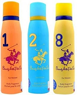 Beverly Hills Polo Club Women Deodorant No. 1/2/8- Pack Of 3 (150ml Each)