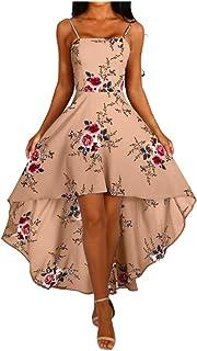 ReooLy Sommerkleid für Damen, ärmelloses Maxikleid mit One-Shoulder-Print, unregelmäßiges Kleid mit modischem Leibchenrock ,