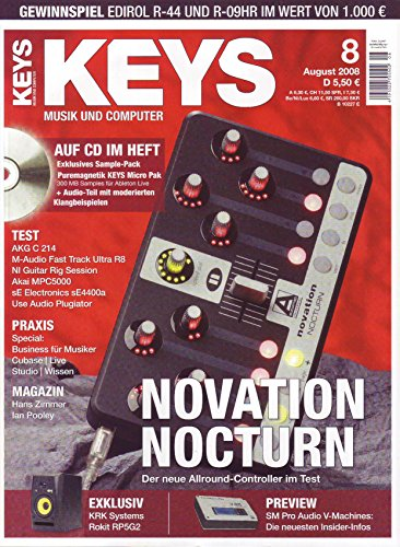 Keys 8 2008 mit CD - Novation Nocturn - 300 MB Samples für Ableton Live auf CD - Personal Samples - Free Loops - Audiobeispiele