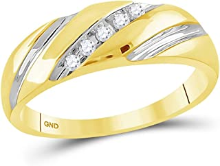 14k Yellow Gold Mens Round Diamond Two-Tone Single Row Wedding Band Ring (1/10 Cttw)