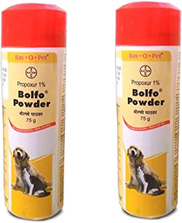 Bayer BOLFO Powder for for Tick and Flea Control for Dogs and Cats 75GM (Pack of 2) by Jolly and Cutie Pets