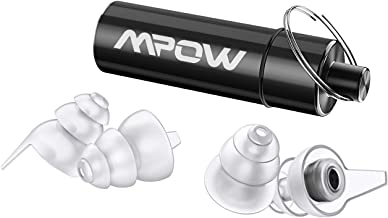 Mpow High Fidelity Earplugs, SNR 28dB Concert Ear Plugs, Noise Reduction Music Earplugs for Musicians, DJ's, Drummers, Festival, Nightclub (Aluminum Carry Case Included)- White&Black