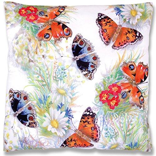 Arsvita kussensloop met fotodruk, ca. 45x45 cm met/zonder kussenvulling, decoratieve kussen/decoratieve kussenhoes verkrijgbaar in vele verschillende trendy kleuren en moderne designs ohne Füllung Butterfly 2