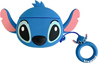 Jxh-Life Airpods Case Thick Soft Silicone Blue Lilo Stitch Case and Finger Strap for Apple Airpod 1 2 Cute 3D Walt Disney ...