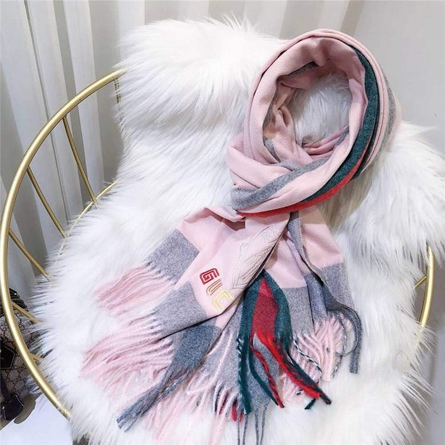 WJL Sweet Tassels Cgreymere Women Warm Stripes Long Autumn and Winter Outdoor MultiFunctional Fgreyion Trend Wild Warm Shawl Scarf Gift