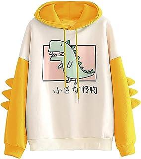 Wadonerful Women Cute Animal Sweatshirt Tops O Neck Long Sleeve Color Block Splice Print Blouse Shirts Hoodies Pullover