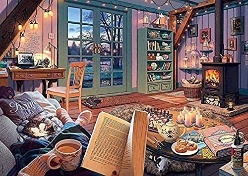 VGSD Puzzle Classic Creative Puzzles Jigsaw 1000 Piece, Landscape Poster The Cosy Shed Jigsaw Puzzles, Wooden Puzzle Educational Games 50X75Cm