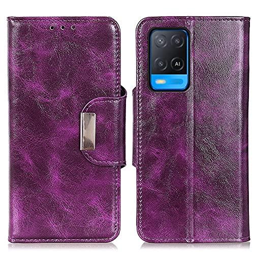 Happy-L Funda compatible con Oppo A54 4G, cuero sintético premium con ranura para múltiples tarjetas y soporte, cierre magnético, funda tipo cartera (color: púrpura)