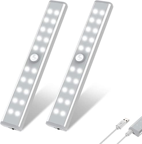 Wardrobe Light, OxyLED Motion Sensor Closet Lights, 20 LED Under Cabinet Lights, USB Rechargeable Stick-on Stairs Ste...
