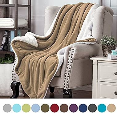 Bedsure Sherpa Throw Blanket Camel Twin size 60x80 Bedding Fleece Reversible Blanket for Bed and Couch