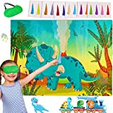 Dinosaur Party Games for Kids Pin The Horn on The Triceratops Dino...
