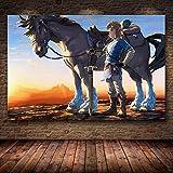 AQgyuh Puzzle 1000 Piezas Pintura del Juego The Legend of Zelda: Breath of The Wild Puzzle 1000 Piezas paisajes Gran Ocio vacacional, Juegos interactivos familiares50x75cm(20x30inch)