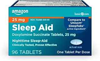 Amazon Basic Care Sleep Aid Tablets, Doxylamine Succinate Tablets, 25 mg, Nighttime Sleep Aid to Help You Fall Asleep, 96 ...