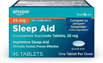 Amazon Basic Care Sleep Aid Tablets, Doxylamine Succinate Tablets, 25 mg, Nighttime Sleep Aid to Help You Fall Asleep, 96 ...