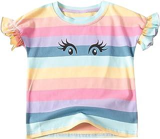 iiniim Toddler Little Girls Ruffle Short Sleeve Rainbow Cute T-Shirt Kids Colorful Stripe Tee Summer Casual Clothes