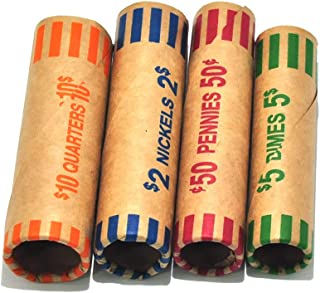 256 Assorted Coin Preformed Wrappers Rolls - Quarters, Pennies, Nickels and Dimes (256Assorted)