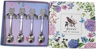JUMEIHUI Stainless Steel Cute Mini Cat Spoon for Tea, Coffee, Dessert, Sugar, Ice Cream (Silver) - 4 Pieces