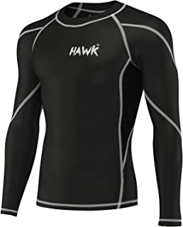 Hawk Sports Mens Compression Shirts Base Layer Athletic Gym MMA BJJ Rash Guard No Gi Full Long Sleeve Rashguard Shirt for Men