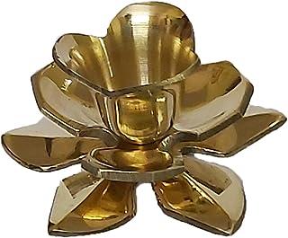PARIJAT HANDICRAFT Lotus Shaped Brass Candlestick Holder (3 X 1.3)