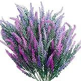 SnailGarden Lot de 6 Flores Artificiales de Lavanda,Ramo de Lavanda & Bolsa de Papel Marrón pour Mariage,Fiançailles,Décoration Intérieure ou Extérieure