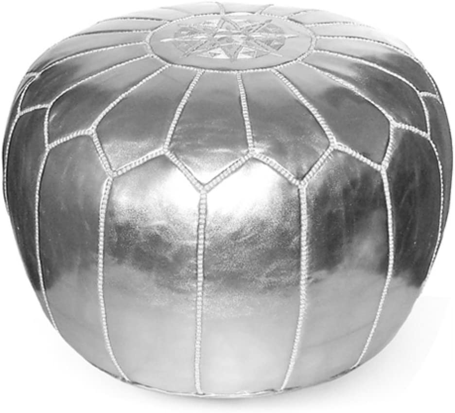 IKRAM DESIGN Max 61% OFF Moroccan Pouf Silver Overseas parallel import regular item Ottoman Color: