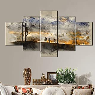 Jesus Christ Crucifixion Painting HD on Canvas Pictures for Living Room Good Friday Artwork for Walls Modern Artwork Painting 5 PCS Home Decoratons,Framed Gallery-wrapped Ready to Hang(60''Wx32''H)