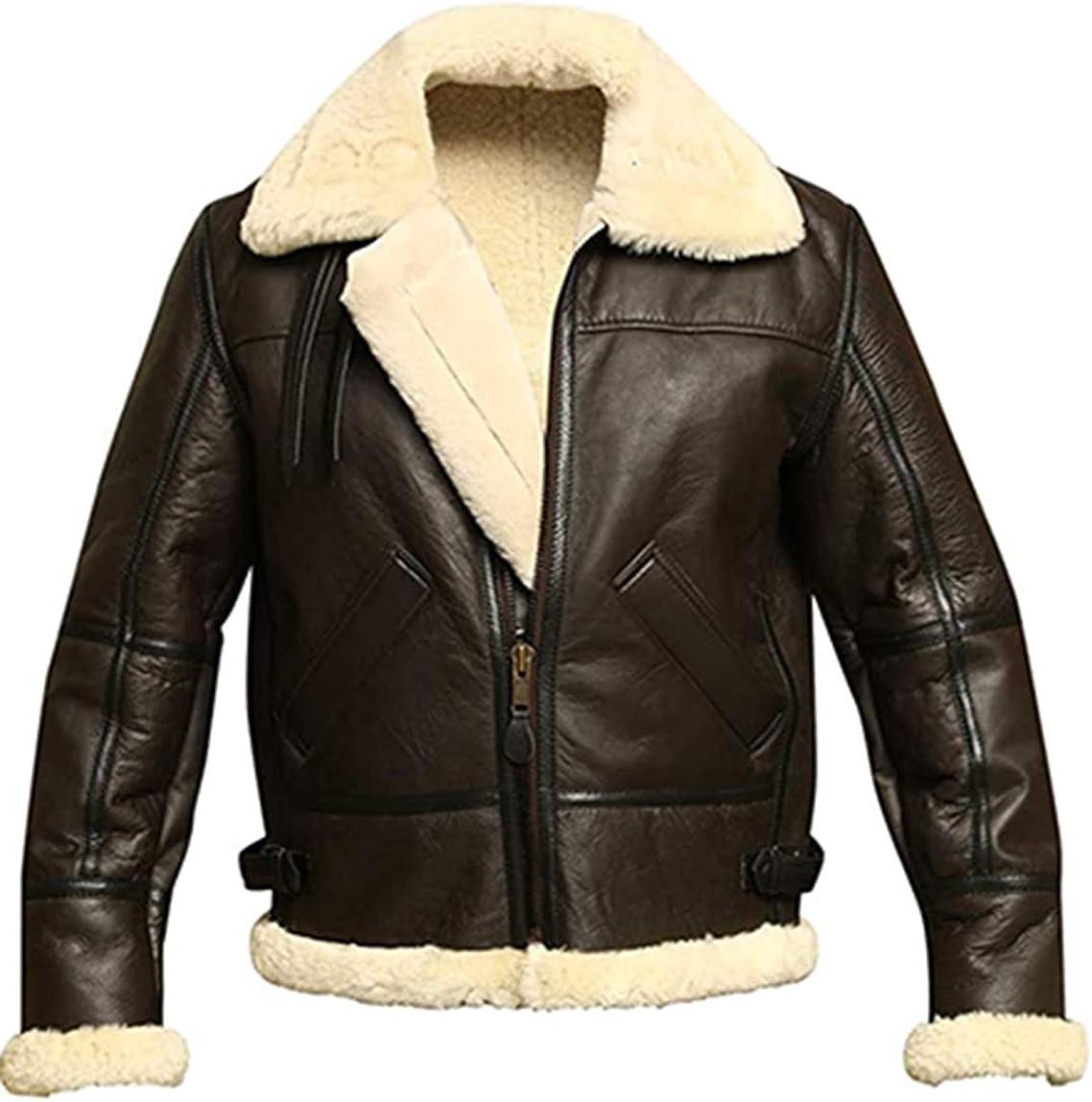 Men B3 Bomber Aviator Shearling Sheepskin Leather Winter Jacket