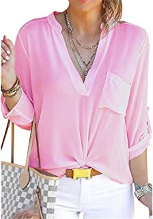 FRPE Womens V-Neck Long Sleeve Slim Fit Pockets Plus Size Chiffon Blouse Shirt Top