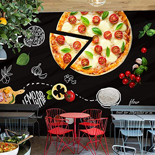 MGQSS 3D Wandbild selbstklebende Tapete handbemalte Tafel Graffiti Burger Pizza 3D Kinderzimmer Tapete Poster Fototapete Junge Mädchen Schlafzimmer Raumdekoration Umweltschutz(B)500x(H)375 cm