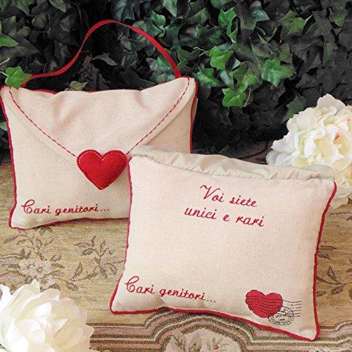 Vintage Country Style Cadeaukussen, decoratief kussen, kussen liefde hart ansichtkaart, geborduurd schrijfkussen, schrijven in de Italiaanse taal - envelop/harten - 15x20 - Beige/rood - 100% katoen