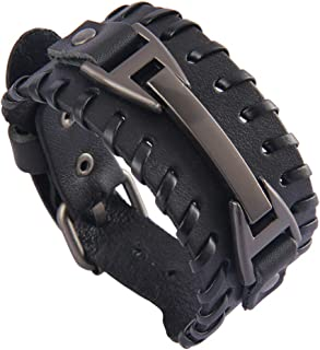 Jenia Punk Leather Cuff Bracelet Braided Bracelets Rock Leather Wristbands Adjustable Gothic Wrap Bracelet for Men, Boy, Women