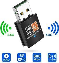 innOrca - Adaptador inalámbrico de Doble Banda de 600 Mbps 2,4/5 GHz USB WiFi Antena LAN Adaptador 802.11ac/a/b/g/n, Compatible con Wi-Fi Hotspot, cifrado Wi-Fi, Windows XP/7/8/10, Mac OS X