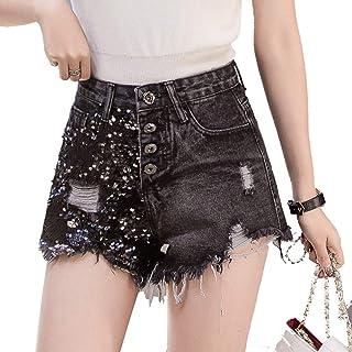 cb94e12db8 FeliciaJuan-cl Shorts de Mezclilla Pantalones Cortos de Mediana Altura con  Dobladillo Deshilachado y Pantalones