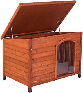 Caseta de madera para perro, techo plano