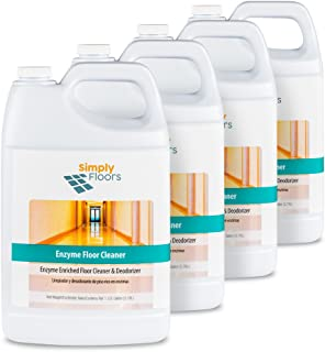 Simply Floors FLC-00018 Enzyme Floor Cleaner - [Pack of 4 - 1 gallon bottles], Green, 8.5 to 9.5 pH Floor Cleaning Solution and Odor reducer, Enzymatic action, Mildly Scented. Surface Cleaners, Dilution rate from 1:16 to 1:128