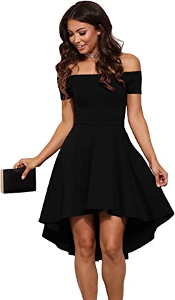 6c1171fbdca7 Mypuffgirl Women's Off The Shoulder Casual Skater Cocktail Party Dress High  Low Skirt