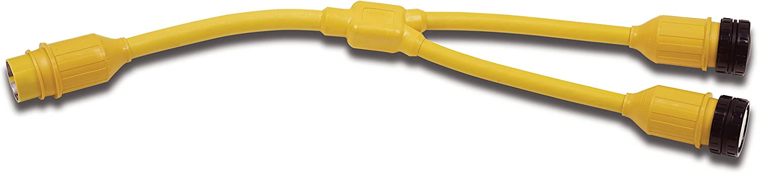 Marinco 154AY Marine Electrical Shore Power Y Adapter (50Amp 125 250Volt Locking Male to Double 50Amp 125Volt Locking Female with Sealing Collar System Yellow)