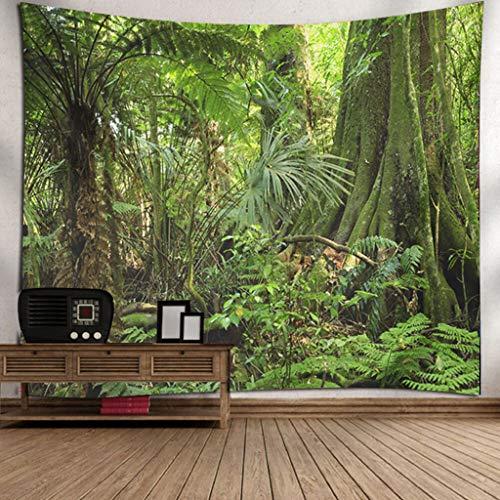 Scrolor Moderne Wandteppiche Entwurf fur Eine Tapisserie Wandbehang Home Wohnzimmer Dekoration Schöne Naturlandschaft Bäume hautnah(Grün 4,150X200cm)