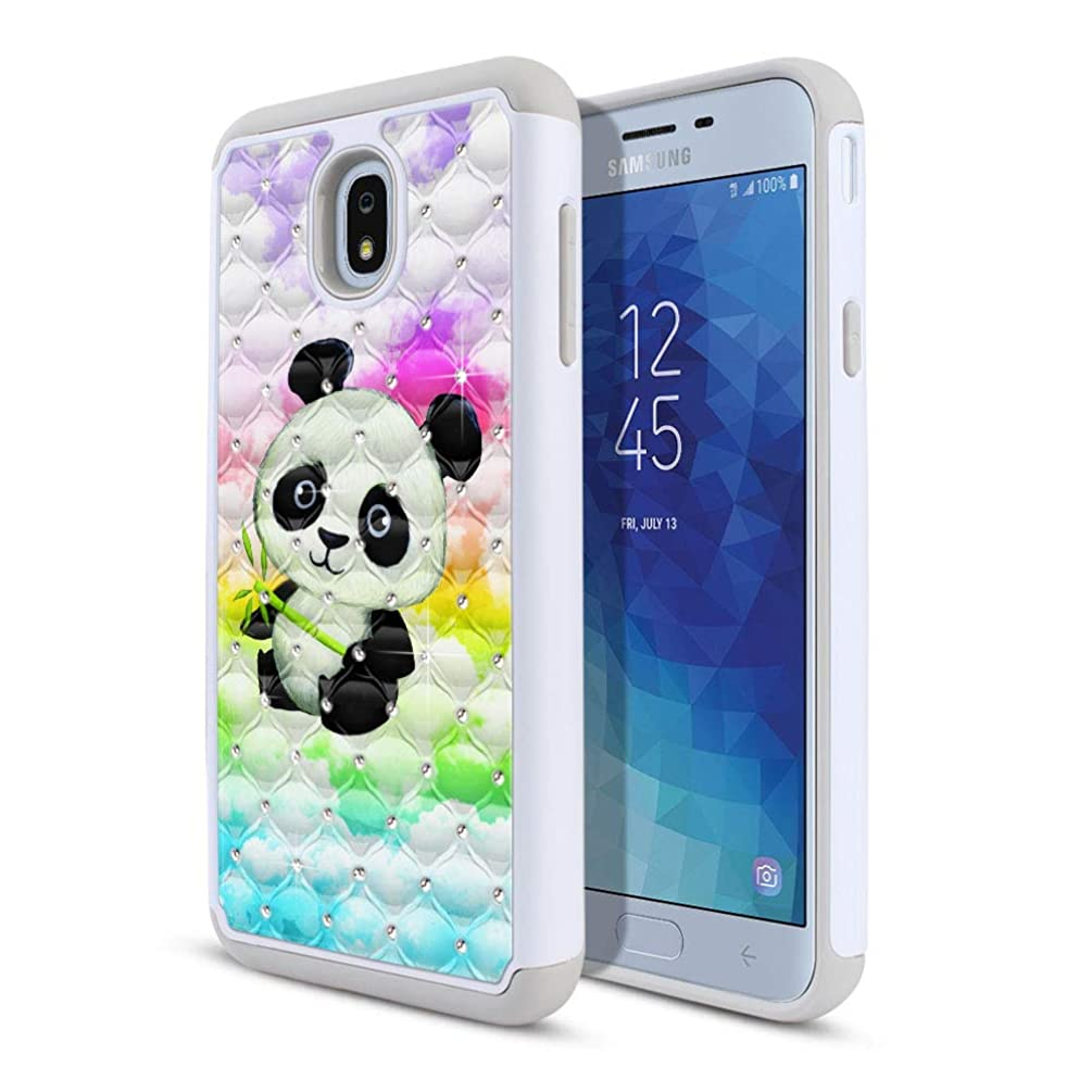 FINCIBO Case Compatible with Samsung Galaxy J7 J737 2018 5.5 inch, Dual Layer Hybrid Protector Case Cover TPU Rhinestone Bling for Galaxy J7 2018 (NOT FIT J7 2017) - Baby Panda (Style 2)