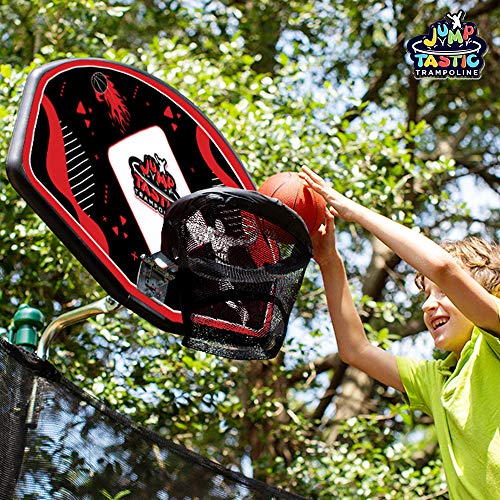 JumpTastic Trampoline Basketball Hoop Universal with Mini Basketball and Pump, Sturdy Easy to Assemble Fit for Curved Pole or Straight Pole