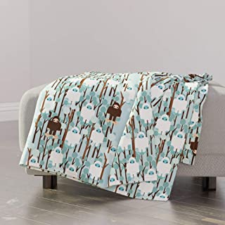 Roostery Contest Minky Throw Blanket - Ice Yeti Bigfoot Lost Sasquatch Abominable Snowman by Thirdhalfstudios - 48 x 70in