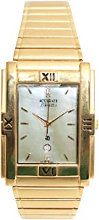Casual Watch for Men by Accurate, Gold, Rectangle, AMQ1032