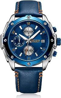Megir - Reloj de pulsera para hombre con cronógrafo azul militar, luminoso, resistente al agua, con calendario, para deportes o negocios